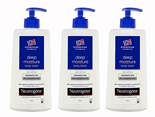 Neutrogena Deep Moisture Body lotion Sensitive and Fragrance Free for Dry and Sensitive Skin, 13.5 Ounce (Pack of 3)