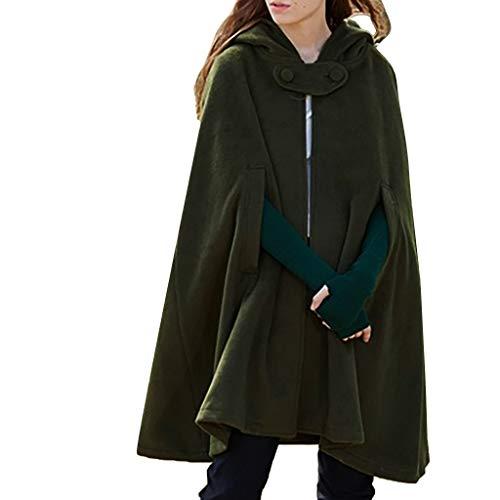 Women Trench Coat, ZSBAYU Gothic Hooded Open Front Poncho Cape Coat Outwear Jacket Cloak Warm Batwing Wool Poncho Jacket