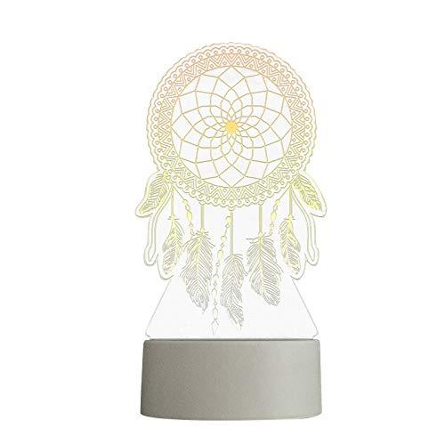MARIJEE Lámpara de noche 3D con USB de acrílico, luz nocturna LED, mesa de escritorio, dormitorio, decoración de dormitorio, luz blanca cálida, decoración para el día de San Valentín, regalo romántico