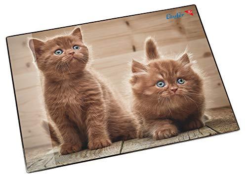 Läufer 46650 Schreibtischunterlage Katzen Neugierige Kätzchen, 53x40 cm, rutschfeste Schreibunterlage für Kinder, verschiedene Motive, mit transparenter Seitentasche