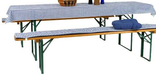 GO-DE 1153-20 Set de revêtements avec 2 revêtements de Banc et 1 Nappe Bleu/Blanc à Carreaux Vichy