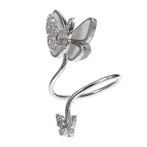 PIXNOR Anillo de uñas de dedo, anillo de uñas, anillo de cristal, anillo de uñas, joyería para mujeres y niñas, plata