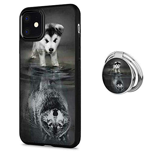 Black iPhone 11 Case with Ring Holder Stand Wolf Cub Pattern 360 Rotation Ring Grip Kickstand Soft TPU and PC Anti-Slippery Design Protection Bumper for iPhone 11