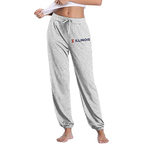 Pants Womens University of Illi-Nois at Urbana-Champaign Fashion Athletie Sweatpants with Pockets Casual Plus Size Pants Cinch Bottom Trousers Streetwear Slim Fit Trousers,Hip Hop Pants Medium Gray