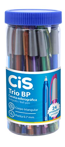 Caneta Esferográfica, CIS, Trio Bp 52.4400, Multicor, pacote de 24