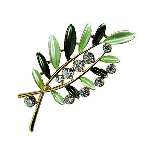 Harilla Elegante Flor De Diamantes De Imitación De Cristal Hojas Broche Broches Ropa Joyería - Verde, 4.8x2.3cm