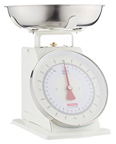Typhoon Living Kitchen Weighing Scales with Stainless Steel Bowl, 15 x 26 x 22 cm, Cream