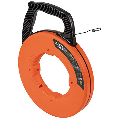 Klein Tools 56333 Fish Tape, Steel Wire Puller with Double Loop Tip, Optimized Housing and Handle, 1/8-Inch x 120-Foot