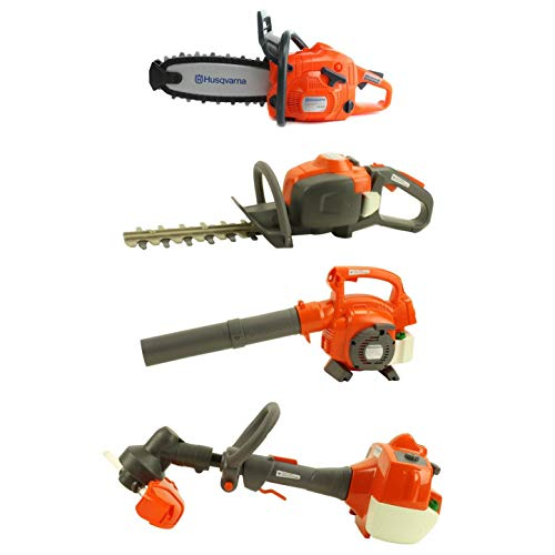 Husqvarna Kids Battery Operated Toy Leaf Blower + Weed Eater + Hedge Trimmer + Chainsaw w/ Sound