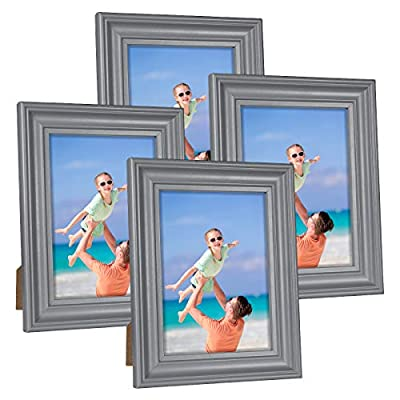 Hap Tim 5x7 Picture Frame White Wooden Photo Frames for Tabletop Display and Wall Decoration, Set of 4 (CWH-5x7-BG)