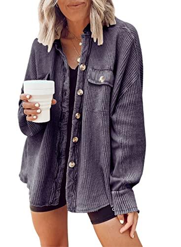 chouyatou Women's Loose Fit Batwing Sleeve Waffle Knit Button Down Shirt Shacket Tops (Small, Dark Grey)