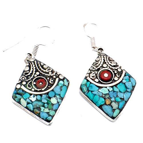 ¡TRABAJO NEPALÍ! ¡TURQUESA azul y CORAL rojo! TIBETIAN PENDIENTE 1.75'de largo, TIBETIAN plateado, joyería de arte HECHA A MANO! Joyería MULTI-PIEDRA para mujer PENDIENTE BUDISTA tribal Boda