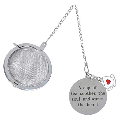 """Best Tea Ball Infuser with Teapot Charm and Stainless Steel Disc – """"A Cup of Tea Soothes The Soul and Warms The Heart"""" - Stainless Steel Mesh - Single Cup - Perfect Strainer for Loose Leaf Tea"""