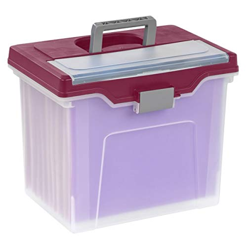 Office Depot Large Mobile File Box, Letter Size, 11 5/8in.H x 13 3/6in.W x 10in.D, Clear/Burgundy, 110986