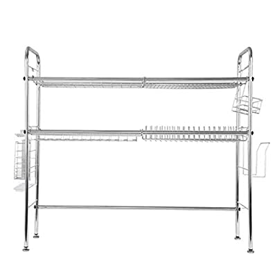 Dish Drying Rack Over Sink Display Drainer Kitchen Utensils Holder,Large Dish Drainer Shelf with Utensil Holder, Over The Sink Kitchen Stainless Steel Storage Rack Space Saver Display Stand from