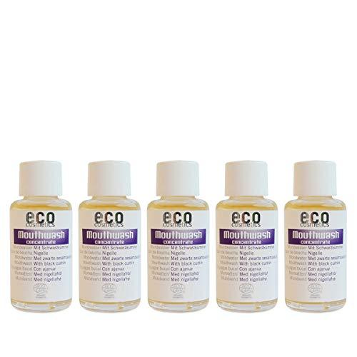ECO COSMETICS mondwater (5 x 50 ml), milde kruidensmaak, biologisch mondwater, veganistisch, vrij van fluoride, natuurlijke cosmetica