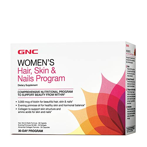 GNC Women's Hair, Skin & Nails Vitapak, 30 Packs, Contains Biotin for Strong and Healthy Hair, Skin and Nails
