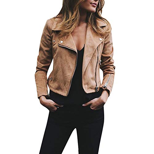 Damen Retro Rivet Zipper Up Bomberjacke Mantel LäSsig Outwear Kurz Jacke Casual Damenjacke Bikerjacke Pilotenjacke Frauen ReißVerschluss Oben Lederjacke Cool Streetwear(Khaki,L)