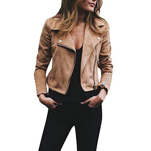 JERFER Mode Damen Retro Rivet Reißverschluss Bomberjacke Mantel Outwear Herbst Mantel