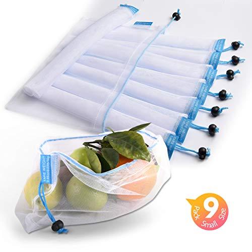 Bolsas reutilizables de malla lavinrose reutilizables con cordón y etiquetas de peso de tara, resistente a las costuras, transparente y lavable, juego de 9 bolsas de almacenamiento pequeñas