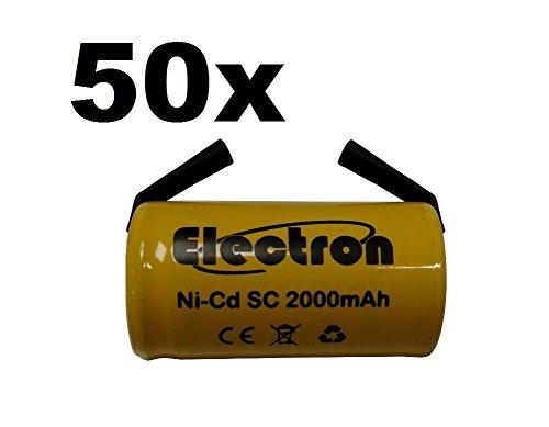 50 x accu SC 2000 mAh 2,0 Ah Ni-Cd 1,2 V met soldeerlamellen voor accu's, boren, zaklampen
