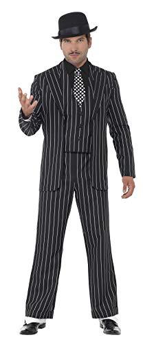 Smiffys, Herren Klassischer Gangsterboss Kostüm, Jacke, Krawatte, Weste mit Mock Hemd und Hose, Größe: XL, 23042