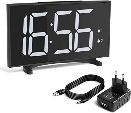 Yissvic Digital Wecker Uhr Tischuhr 12/24H Dual Alarm Easy Snooze 6 Einstellbare Helligkeit