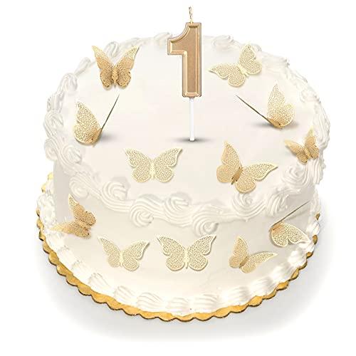 12 Piezas de Decoración de Pared de Mariposa 3D Decoraciones de Pastel de Mariposas Oro Topper de Mariposa de Torta y Velas de Pastel Número 1 para Suministros de Fiesta de Cumpleaños
