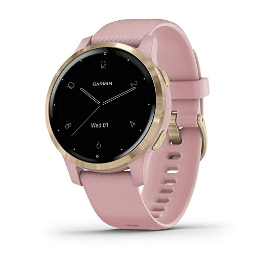 Garmin vívoactive 4S, Smaller-Sized GPS Smartwatch, Features Music, Body Energy Monitoring, Animated Workouts, Pulse Ox Sensors and More, Light Gold with Light Pink Band (Renewed)