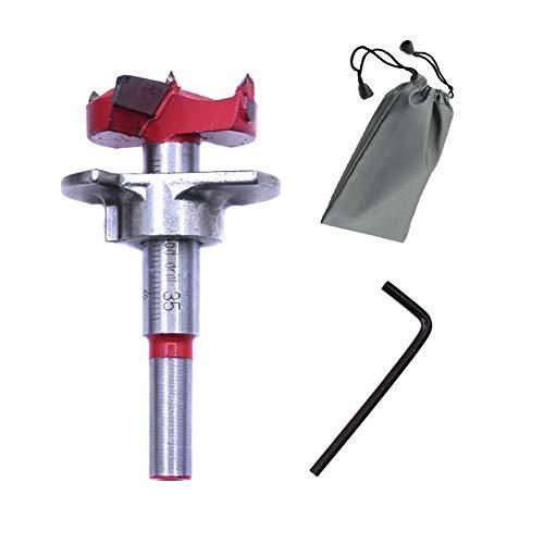 SUNSHINETEK 35 mm Forstner Bohrer mit 8 mm Rundschaft 1-3/8 Zoll Wolframkarbid Holzbearbeitung Lochsäge Holzschneider Einstellbare Bohrtiefe (15 mm-45 mm) mit wasserdichter Tasche