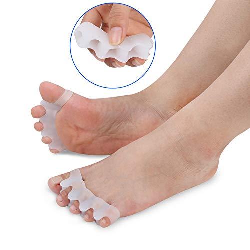 Pinkiou Separadores de dedos de silicona Cinco dedo del pie Hallux Valgus Corrector de juanete para el cuidado de los pies (1 par) ⭐