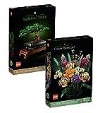 bundle-set: lego creator expert botanical collection 10280 - set di bouquet, bouquet di fiori + albero bonsai 10281