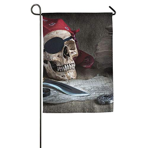 ASENDAN 30 X 45 Cm Still Life Pirate Skull With Knife Compass And Pocket Watch On Floor Family Garden House Home Demonstration Game Flag