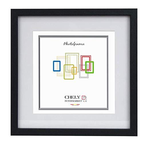 Chely Intermarket, Marco de Fotos 15x15cm /MOD-351/ (Medida Interior con paspartú 10x10cm) (Negro)   El Marco Queda al Nivel de la Pared, diseño Elegante.(351-15x15-0,30)