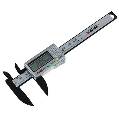 BESTOMZ Digital Messschieber, Professionale Kohlefaser Schieblehre mit LCD Anzeige, In / mm, 100mm Messbereich, Silber