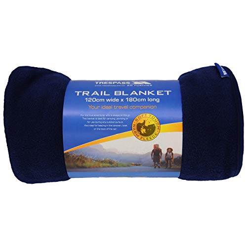 Trespass Snuggles, Navy Blue, Soft Warm Fleece Sleeping Blanket 180cm x 120cm, Blue
