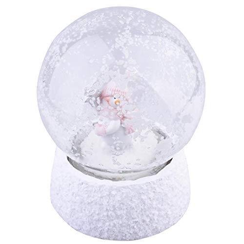 Dadeldo Home Schneekugel Snowman LED-Deko Resin 10x12x12cm Weiss-rosa Weihnachten