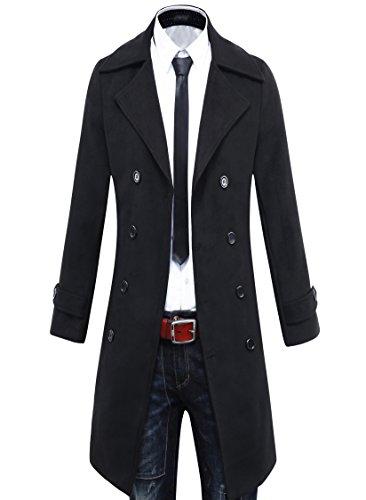 Beninos Men's Trench Coat Winter Long Jacket Double Breasted Overcoat (5625...
