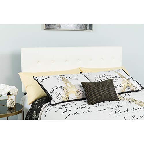 Flash Furniture Lennox Tufted Upholstered Twin Size Headboard in White Vinyl