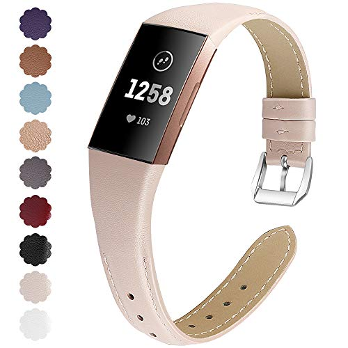 KIMILAR Armbänder Kompatibel mit Fitbit Charge 4 / Charge 3 Armband Leder,Ersatzband Zweifarbig Band Uhrenarmband für Charge 4/3/SE Fitness Tracker Damen Herren (S, Beige-Rosa)