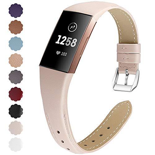 KIMILAR Armbänder Kompatibel mit Fitbit Charge 4 / Charge 3 Armband Leder,Ersatzband Zweifarbig Band Uhrenarmband für Fitbit Charge 4/3/SE Fitness Tracker Damen Herren (S, Beige-Rosa)
