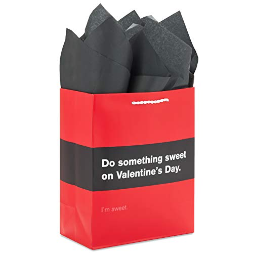 Hallmark 9' Medium Funny Romantic Gift Bag with Tissue Paper (Black and Red, 'Do Something Sweet') for Husband, Wife, Boyfriend, Girlfriend for Valentine's Day