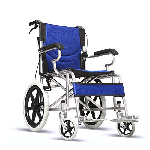 WANGXN Fahrend Rollstuhl Faltbare Carbon Steel Rollstuhl leichte, tragbare Transit Travel Chair,Blau