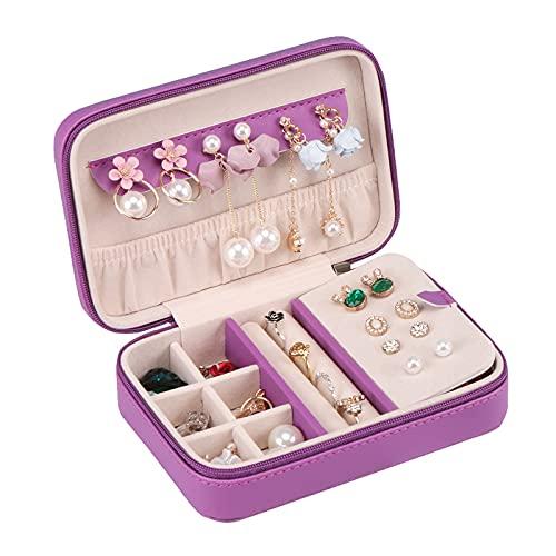 Joyería Caja de Almacenamiento Organizador de joyería de viaje portátil con cremallera, pequeña caja de joyería de viaje para mujeres Pendiente de almacenamiento, anillo, collar Colgador de joyas