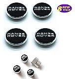 Health mall 63mm Wheel Hub Center Cover and Tire Valve Stem Air Caps Cover Combo Black Logo Chrome Tire Stem Valve Caps for Apply to Range Rover(8 Pack)