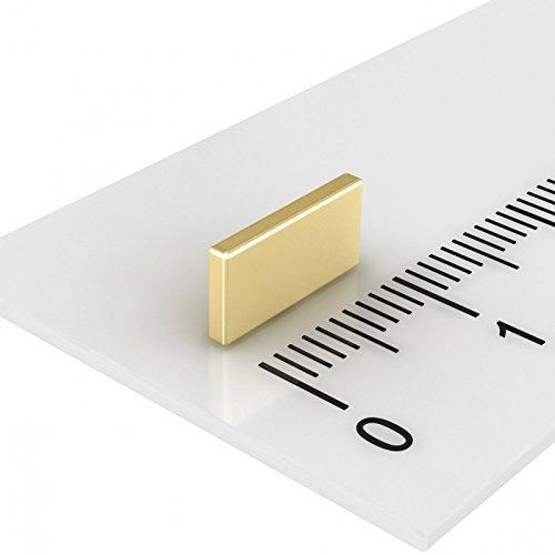 100 x Neodym Quadermagnet 10 x 5 x 1,2 mm, Grade N50, Gold, flacher Magnet für Modellbau