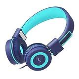 Elecder i37 Kids Headphones Children Girls Boys Teens Foldable Adjustable On Ear Headphones 3.5mm Jack Compatible Cellphones Computer MP3/4 Kindle School Tablet Teal
