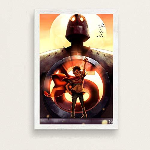 yangchunsanyue El Gigante de Hierro película clásica Robot Arte Pintura Lienzo póster Pared decoración del hogar 50X70Cm Sin Marco (ZT-2579)