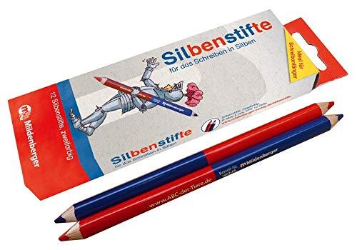 Mildenberger Silben-Stifte Buntstifte Für Das Schreiben In Silben, 2-Farbig, 3-Kant, Mine Ø 5 mm, 12 Stück