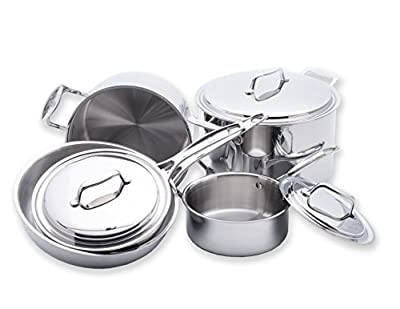 USA Pan 1550CW-1 5-Ply Stainless Steel 8 Piece Cookware Set